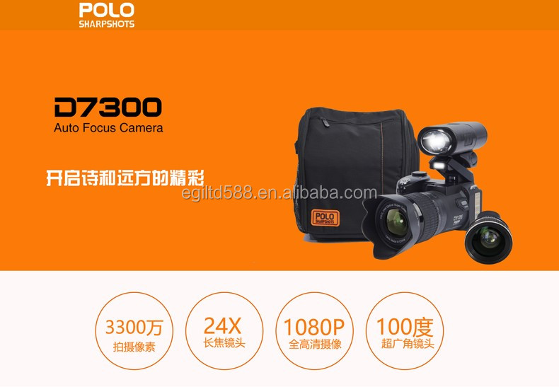 New D7300 Digital Camera Auto Focus 13MP Support 33MP with Telephoto Lens and Wide Angel Lens D3300 Updated version HD Camcorder
