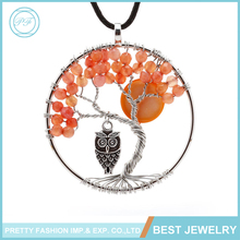 Fashion Jewelry 2016 Agate Owl And Moon Tree Of Life Pendant Natural Stone Necklace Jewelry