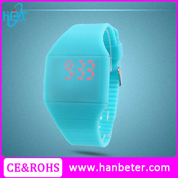 Simple touch screen 3ATM waterproof cheap fancy led sport hand watches with japan movt