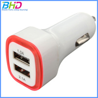 Promotional Car charger Universal dual USB Adapter Colorful Car mobile Charger for iphone for samsung laptop