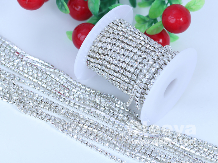 Loose Rhinestone Silver Back Loose Cup Chain Glass Crystal Rhinestones with Cup Chain Designs for Sandals Decoration
