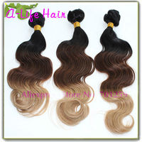 Ombre Hair Weave 100% Brazilian Human Hair Weave Ombre Weave Extension 100g/pc Three Tone Color