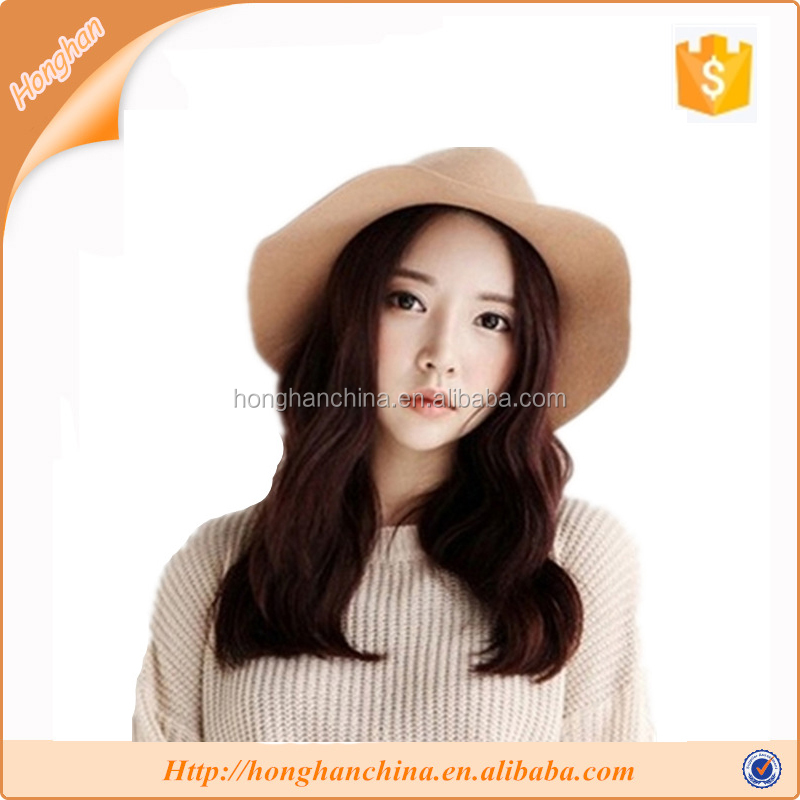 Lady Winter Wide Brim Polyester Bowler Fedora Hat Floppy Camel