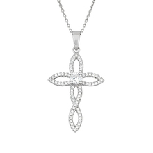 Rhinestone Crystal Fish Cross Pendants Necklaces With Long Thin Chain