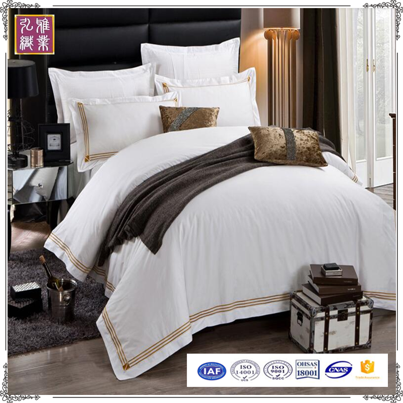 Modern embroidery satin duvet cover whole bedding set
