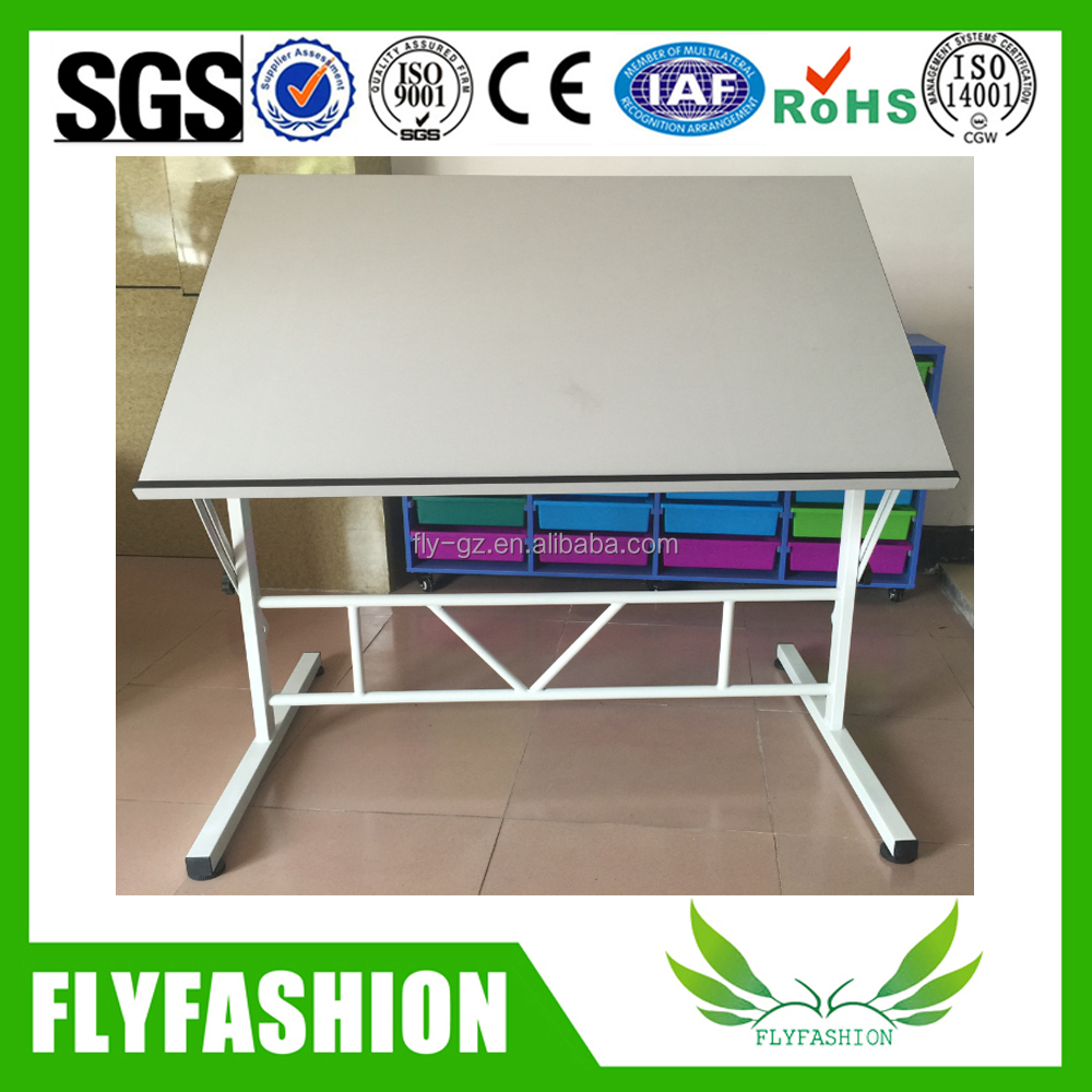 Height Adjustable Wooden Drawing Table Drafting Desk Table Design For School