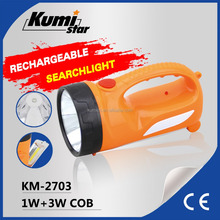 Portable Rechargeable LED Flashlight 3W COB Lamp Plastic Torch Light Outdoor Multifunctional Torch KM-2703