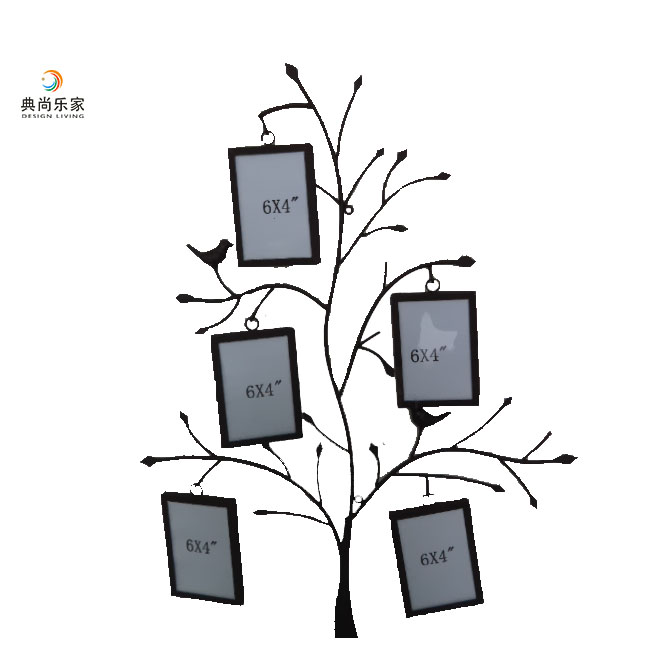 Unique design wall decoration picture frame black metal family tree photo frames