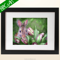 Exquisite wall picture lovely rabbit with flower print art cute animal oil painting