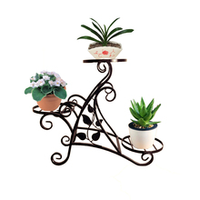 Garden wrought iron metal flower stand indoor and outdoor flower shelf