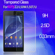 Phone Accessories 9H Tempered Glass for Sony Xperia Z2 L50W 2.5D round edge Screen Protector