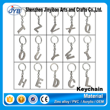new arrival cheap metal alphabet letters with diamond keychain