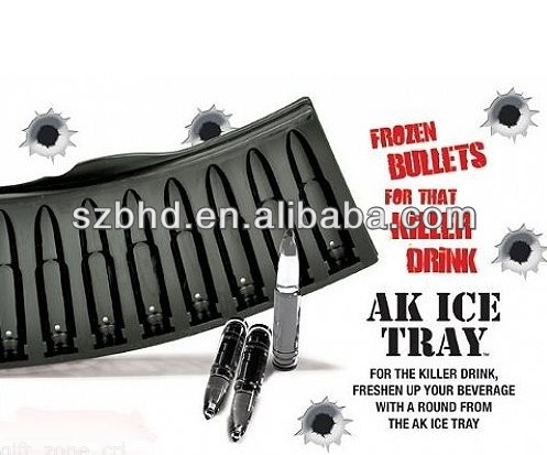 AK 47 Bullet Shape Frozen Silicone Ice Cube Tray for Party Drink