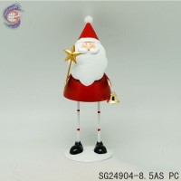 Small metal decorations with Santa Claus holding bell and star