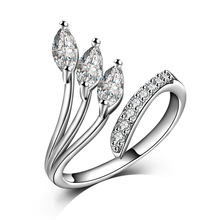 Wholesale Women Finger Rings Silver Plated Copper Engagement Wedding Cubic Zirconia CZ Crystal leaf Rings for Women Jewelry