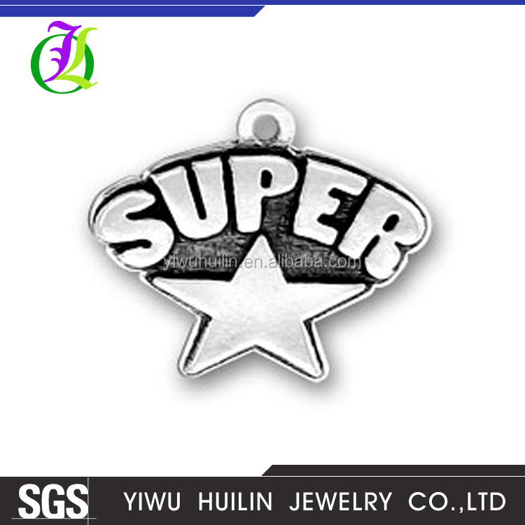 CN186254 Yiwu Huilin jewelry Inspired Super Star word tags charms star shape custom letter word charms
