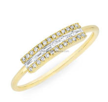 Gold Plated 925 Sterling Silver AAA Cubic Zirconia Baguette Cut CZ Curved Bar Ring/Wedding Engagement Band Ring