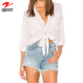 Hot Selling Striped Knot Shirt For Lady