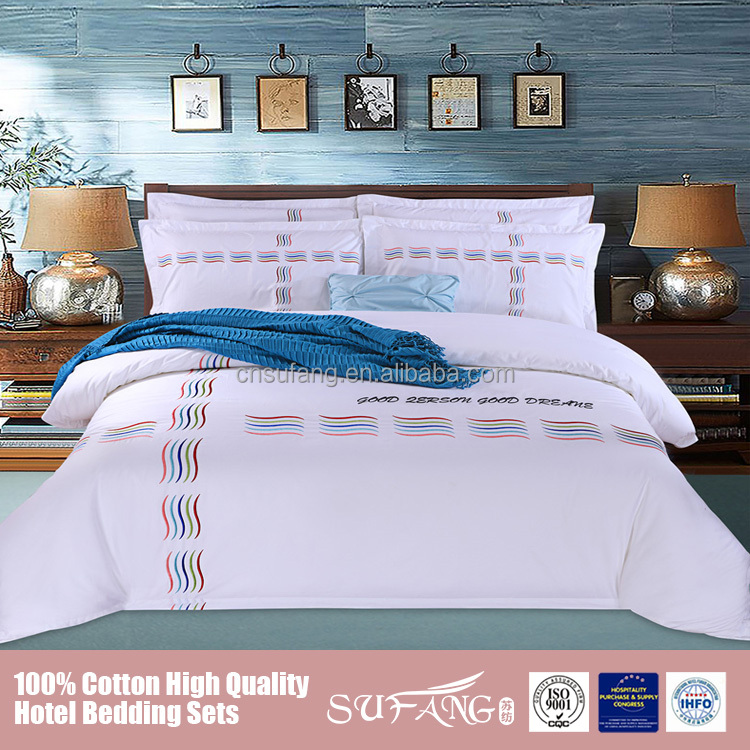 Nantong supplier 60s embroidery 6 pc comforter set