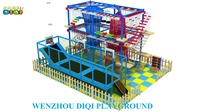 2016 Exciting and Cheap product children wooden indoor ropes obstacle course playground equipment for Mall