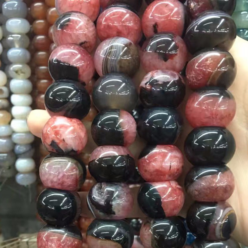 Ball shape yellow & black Agate PINK & black oval Loose Beads Natural Energy Stone Healing Jewelry Making strand