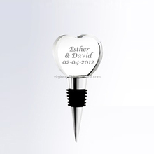 Blank silver bottle stopper crystal heart shape wine stopper for sale