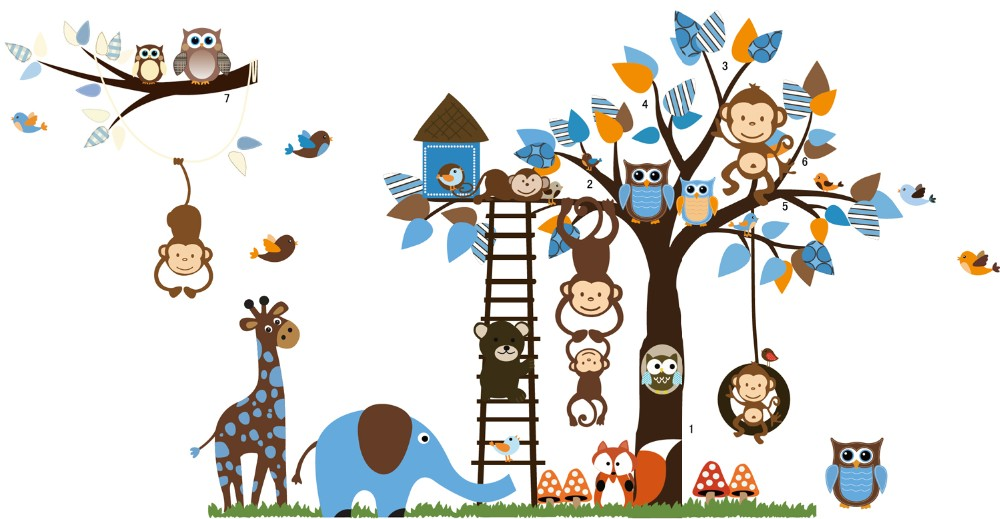 2016 Large Size Kids Cartoon Monkey Giraffe Owl Bird Wall Stickers