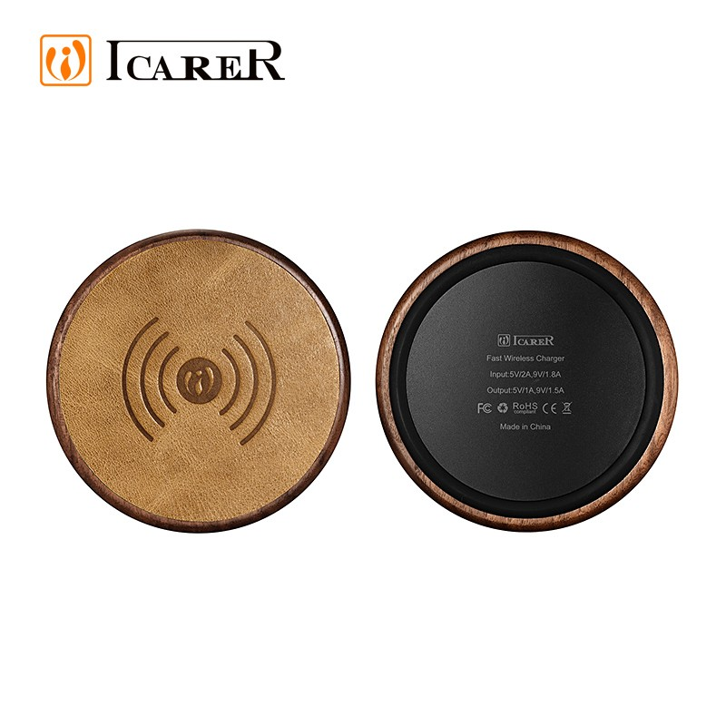 ICARER Real Leather Portable Charger Electronics and Fast Wireless charging NW170F for Samsung S8 S8 Plus