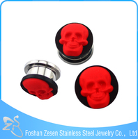 Custom stainless steel jewelry silicone skull pattern ear plug piercing gauges