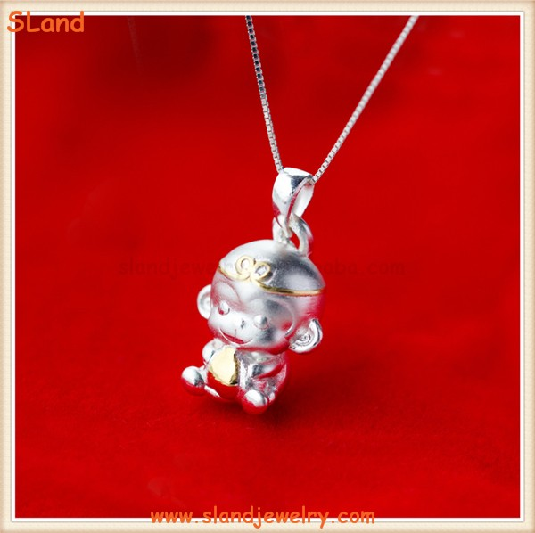 Chinese classic character Journey to the West Sun WuKong lovely monkey necklace charm pendant sterling silver 925 made