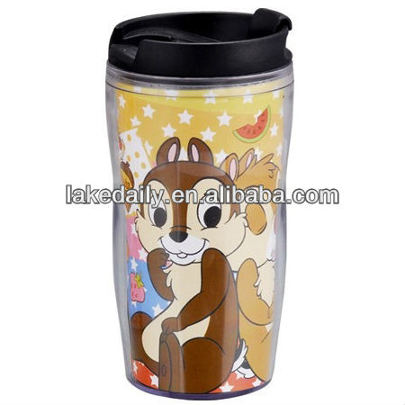 kids double wall plastic character mugs cartoon with lid