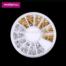Pinpai brand 3D rivets nail art decoration flat back gold sliver half round studs on wheel
