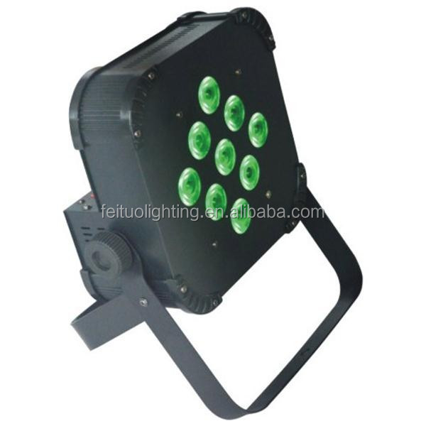9*18w 6in1 rgbwa UV battery powered flat led par can stage light with wireless