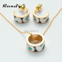 CZ Enamel Design Jewelry Necklace and Earring Sets