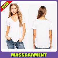 Blank White Custom Dry-fit Women V-neck T Shirts With Curved Hem