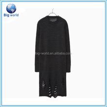 damage weave knit sweater/women knitwear/dress knit/loose knit sweatet/sweater dress fashion design