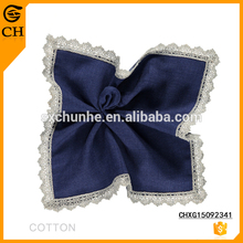 Factory Direct Custom Wholesale Fashion Blue Lace Women Cotton Handkerchief