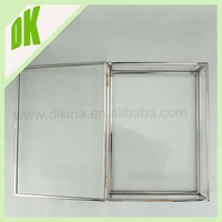 Box can be made of almost any type of clear glass, clear glass+ copper frame newest Medium glass suitcase shaped gift box