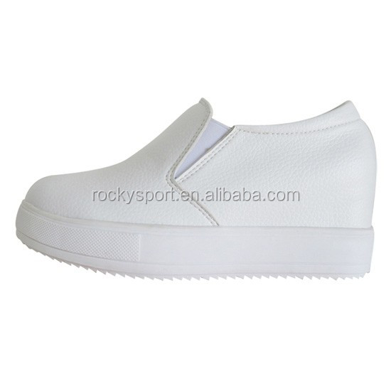 OEM nurse shoes anti slip, white hospital nursing shoes with wedge heels