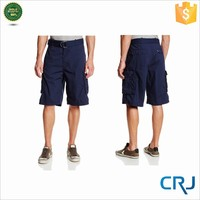 2015 man solid belt cotton twill cargo shorts with multi pockets