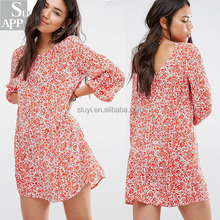 Wholesale clothing woman dress long sleeves floral print low scoop back red print ruffle women dresses ladies fashion clothing