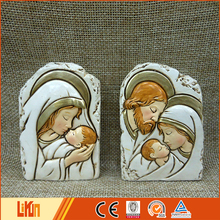 Creative design colorful delicate painted art table decorated polyresin mary and baby jesus craft