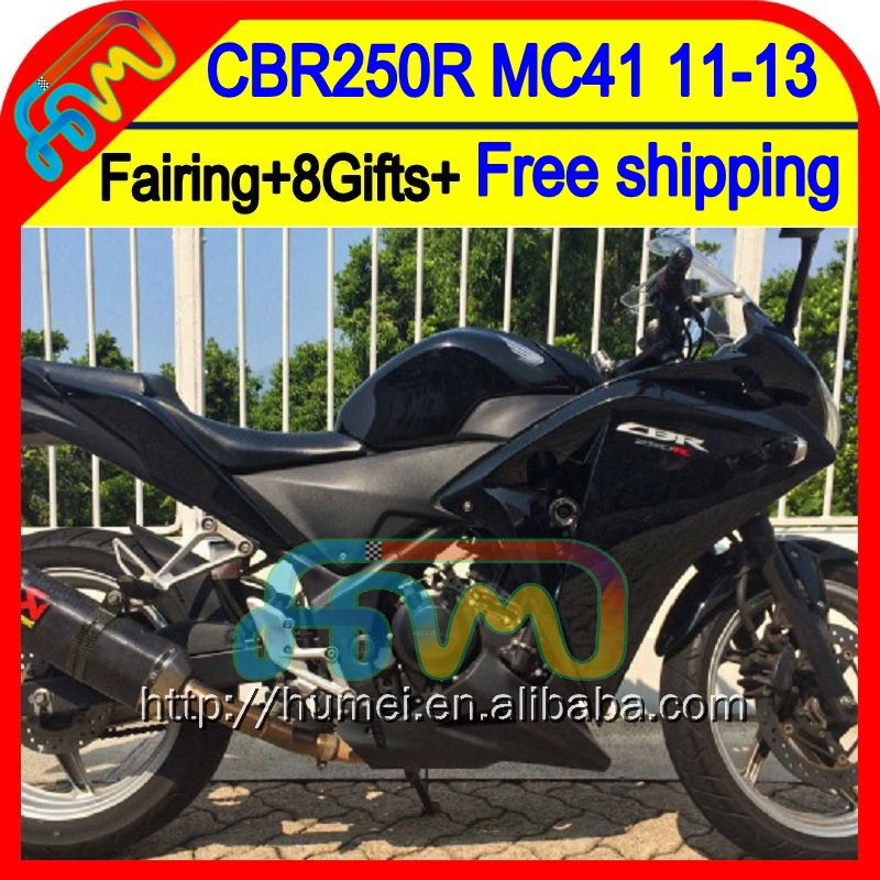 8Gifts For HONDA Gloss black Injection CBR250R MC41 11-13 61HM5 CBR 250R CBR250 R 11 12 13 ALL Black 2011 2012 2013 Fairing