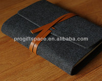 New fashion brown fabric high quality handle leather tie case notebook cover felt handmade leather book cover made in China