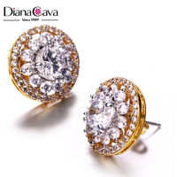 Latest Design Round Shape Flower Design White Gold Plated Zircon Fashion Stud Earrings