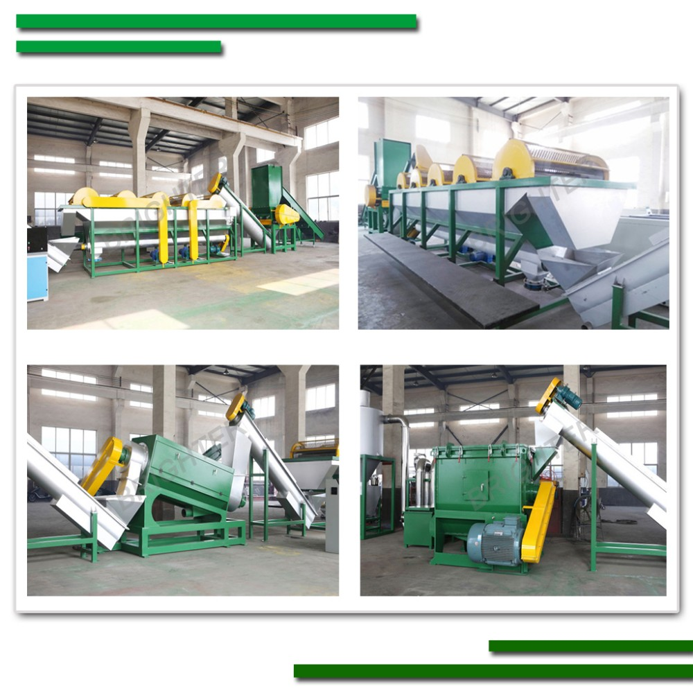 Waste pp pe plastic film bag crushing washing drying recycling machine