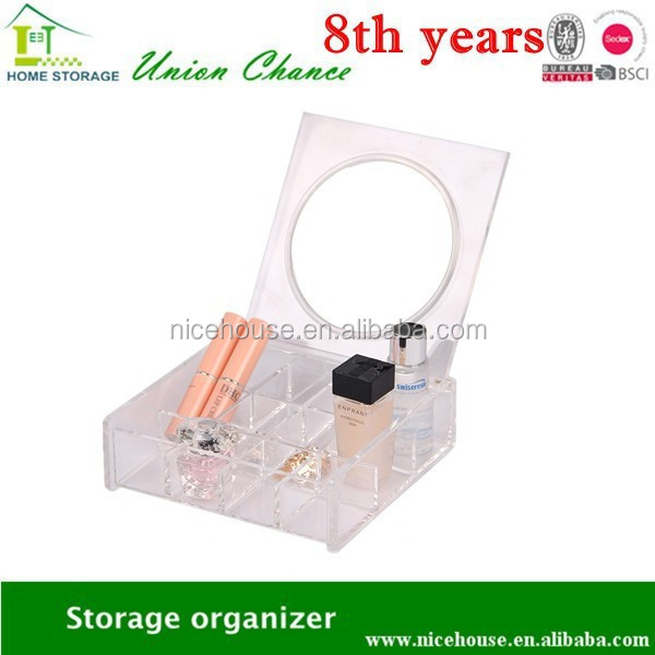 multi-function clear make up organizer with mirror