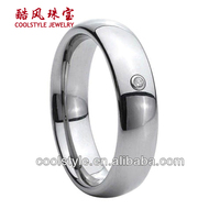 women tungsten ring cz stone inlay and domed tungsten engagement rings for women