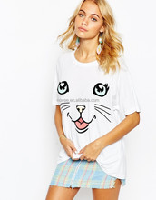 XxxL Sex Women Oversized Fat Women Loose T Shirt Cat Face 47% Cotton 47% Polyester 6% Nylon Spandex On T-Shirt Funny