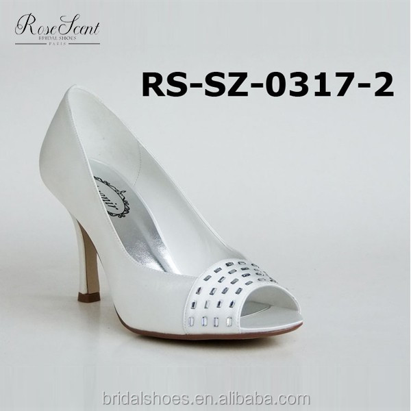 big size women shoes wholesale dyeable satin wedding shoes